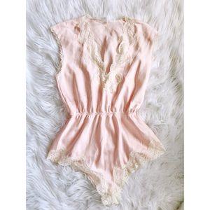 //VINTAGE// Pink Satin & Lace Romper